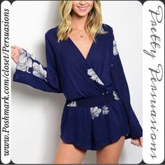 """NWT Navy Floral Boho Bell Sleeve Romper NWT Navy Floral Boho Bell Sleeve Romper  Available in sizes: S & L (1 Large left) Measurements taken in inches from a size small:  Length: 33"""" Bust: 34"""" Waist: 25""""  Rayon  Features:  • long bell sleeves  • úber soft material  • has stretch  • wrapped v-neckline (major trend for Spring/Summer 2016)  • long bell sleeves  • floral print throughout  •  blouson bodice  Bundle discounts available  No pp or trades Pretty Persuasions Pants Jumpsuits & Rompers"""