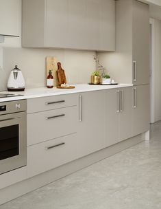 Modern kitchen with grey gloss doors, granite worktop and marble flooring. CGI 2016, design and production by www.pikcells.com for Homebase