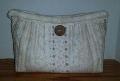 White and beige handmade purse