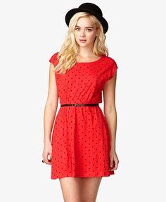 Polka Dot Dress with Skinny Belt $14.80