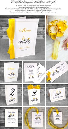 zaproszenia ślubne - Zaproszenia z rowerem Kolorystyka: biały, czarny i żółty. Wstążka żółta. Na wesoło, z humorem. Bardzo ciekawe i oryginalne.