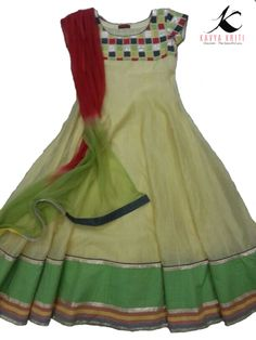 Cool and colorful cotton chanderi dress with a beautiful patch work