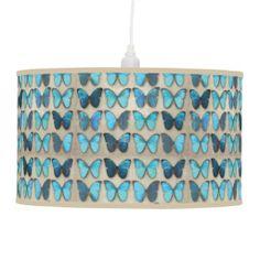 Vintage Blue Butterflies Pendant Lamps