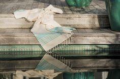 Ottoloom Seychelles Light Aqua, 100% natural linen, hand loomed Turkish hamam towel