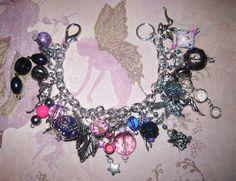 Fairy Charm Bracelet Faerie Jewelry Purple Pink Beads by Jynxx, $40.00
