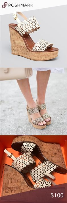 Tory Burch Floral Perforated Wedge Brand new and price is firm. Gorgeous shoes! Tory Burch Shoes