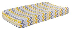 Chevron Unisex Yellow & Gray Changing Pad Cover  by NewArrivalsInc