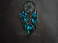 Dream catcher Dreamcatcher American mascots Protective amulet Black Turquoise  Light blue color  Boho style Native American Home Decor by StoreMiracles on Etsy