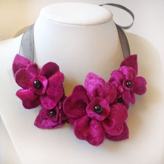 Hot Pink Necklace Velvet Flower Ribbon Necklace Fabric