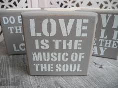 gr LOVE Music Soul Schriftzug shabby chic Holz  Holzschild Schild Schrift SPRUCH