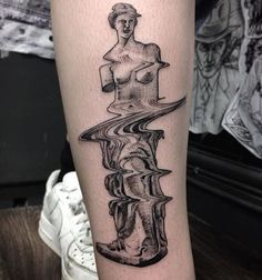 Glitch Greek statue tattoo by Max Amos. Tattoos 3d, Love Tattoos, Beautiful Tattoos, Body Art Tattoos, Tatoos, Tattoo Art, Venus Tattoo, Statue Tattoo, Tattoo Flash