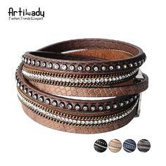 Artilady brazalete del encanto pulsera de cuero joyería de las mujeres del invierno del abrigo del cuero bw