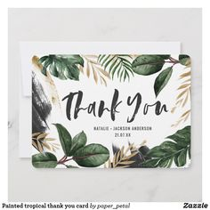 Painted tropical graduation thank you card. Size: x Color: Matte. Diy Cards, Your Cards, Zazzle Invitations, Wedding Invitations, Movie Night Basket, Green Gold Weddings, Graduation Thank You Cards, Thank You Gifts, Creative Cards
