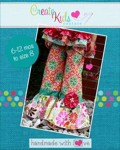 Create Kids Couture - Rihanna's Flower Pants and Capris PDF Pattern, $8.00…