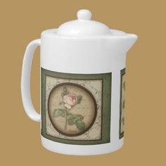 Redoute' Botanical Vintage Rose Teapot by DoodleFairy