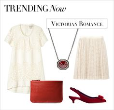 We're swooning over this Victorian-inspired look. Embrace your romantic side and pair feminine lace with scarlet red accessories. #ShopBAZAAR