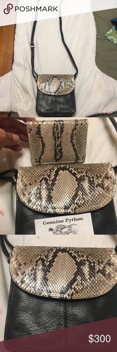 Genuine leather/ python cross body purse These Crossbody purse is genuine leather and has lots of room in it. Has python trim and matching card holder with it. The brand is Paul And Taylor. Excellent condition. Has pocket on back the f purse for phone or keys or whatever.It has 2 zipped areas inside & One slip pocket. Has room for pencils too. Truly one of a kind beautiful purse. Paul & Taylor Bags Crossbody Bags