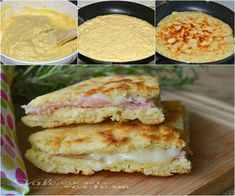 Focaccia di pancake con prosciutto e formaggio Antipasto, Panini, Pancakes, Sandwiches, Tacos, Pizza, Cheese, Ethnic Recipes, Food