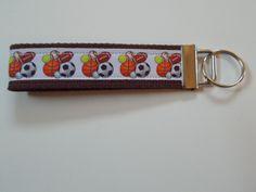 Handcrafted Key Fob Sports Wristlet Keychain Tennis Football Soccer Basketball #Unbranded
