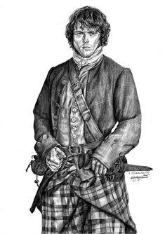 Artwork by @SStonehouseart Outlander Fan Art, Outlander Season 1, Sam Heughan Outlander, Sam Heugan, Wood Burning Art, Pencil Art, Art Drawings, Arts And Crafts, Watercolor