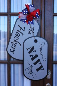 Wooden Doors: Military Family Wooden Dog Tag Door Hanger by CJen. Wooden Door Hangers, Wooden Doors, Wooden Door Signs, Wooden Crafts, Diy Crafts, Simple Crafts, Dog Tags Military, Military Life, Military Signs