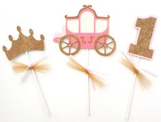 3 Princess Pink and Gold Glitter Themed by ScrapsToRemember