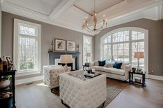 Traditional Living Room with Sofa - Custom Upholstery, Hickory - Mystic Taupe Solid Hardwood Strip Transitional Living Rooms, Living Room Modern, Living Room Designs, Living Room Decor, Living Spaces, Custom Sofa, Luxury Living, Luxury Rooms, Living Room Inspiration