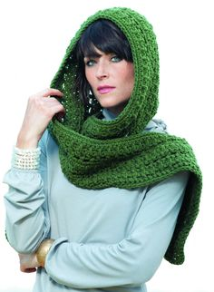 Gaelic Charm Hooded Scarf from Barbara Shaffer's Hooded Scarves to Crochet! #scoodies