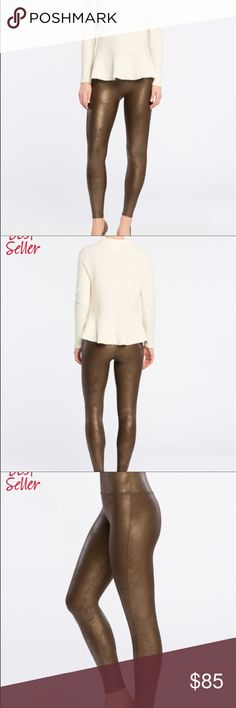 Spanx faux leather leggings Small New. Bronze metal colour. No lowballers  Tight fit SPANX Pants Leggings