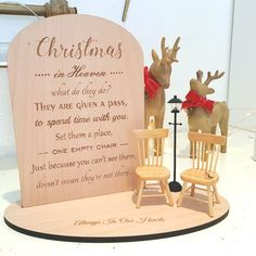 Personalised Christmas in Heaven Sign Memory Chair Memory Christmas In Heaven, Christmas Is Over, Christmas Signs, Christmas Ideas, Christmas Gift Decorations, Holiday Crafts, Table Decorations, Holiday Decor, Diy Ornaments