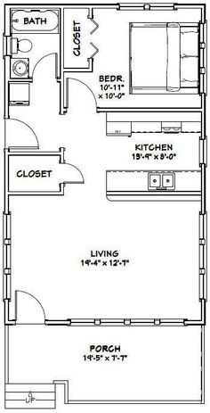 20x32 Tiny House -- 1 Bedroom  -- PDF Floor Plan --640 sq ft -- Model 1G