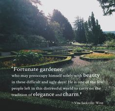 'Fortunate gardener' quote from Vita Sackville-West. Image and design by A Lovely Sunday.
