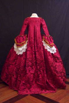 Idle Hands: 1750 Court Dress, Part Made by Claudine de Montigny. Robe a la Francaise, box pleats (robings) fall from the neck to the floor, lave engagements (ruffles) adorn the sleeves. 18th Century Dress, 18th Century Clothing, 18th Century Fashion, Rococo Fashion, Victorian Fashion, Vintage Fashion, Historical Costume, Historical Clothing, Historical Dress