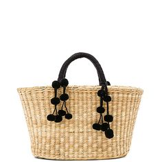 Nannacay Mari Tote Black Pompom Tote featuring polyvore, women's fashion, bags, handbags, tote bags, man bag, handbags totes, woven straw handbags, straw hand bags and woven tote
