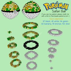 3D Safari Ball free Pokemon perler beads hama beads nabbi beads pattern
