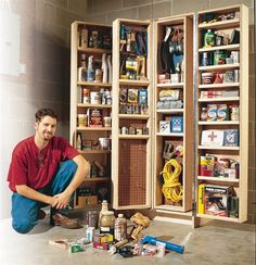 Woodworking Shop - Giant Shop Cabinet Organize tons and tons of woodworking supplies with room to spare. By Tim Johnson If your workshop seems cluttered and your workbench is always covered with stuff… Woodworking Supplies, Woodworking Workshop, Popular Woodworking, Woodworking Bench, Woodworking Shop, Woodworking Crafts, Woodworking Classes, Woodworking Patterns, Woodworking Quotes