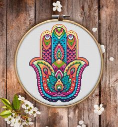 This is modern cross-stitch pattern of Mandala Hand for instant download. You will get 7-pages PDF file, which includes: - main picture for your reference; - colorful scheme for cross-stitch; - list of DMC thread colors (instruction and key section); - list of calculated thread 8.36x6.34 £3.61