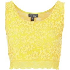 TOPSHOP Lace Crop Top ($30) ❤ liked on Polyvore featuring tops, shirts, crop tops, blusa, yellow, lace crop top, yellow shirt, strappy top, shirt tops and lacy shirt