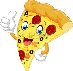 pizza slice: Cartoon pizza giving thumb up Illustration