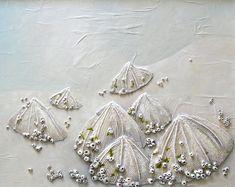 Napfschnecken Malerei - Muscheln auf der Meeresküste texturierte Abstract String Kunst - Made to Order