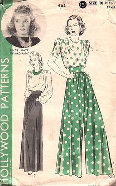 (c) 1940. Tuck-in blouse and wide gathered slacks. Collarless blouse with front and back shoulder tucks and long or short sleeves. Slacks very full in front have inserted pockets and are finished on a deep belt with back slide-fastener closing.