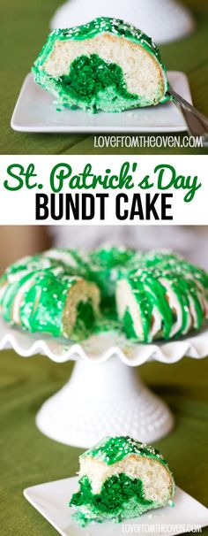 St. Patrick's Day Bundt Cake. Such a fun and easy green cake to celebrate St. Patrick's Day.