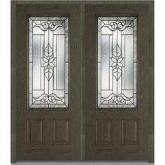 74 in. x 81.75 in. Cadence Decorative Glass 3/4 Lite Finished Fiberglass Oak Exterior Double Door
