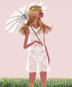 Girl with White Dress #light / Ragazza con vestito bianco #luce - Illust: Adrian Valencia
