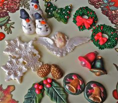 vintage Christmas Marzipan-holiday marzipans-candy-christmas candy-wreath candy-snowmen candy-snowflake candy