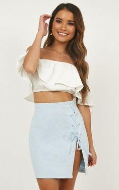 087c79d38 Old Friends Skirt In Blue Linen Look High Waisted Skirt, Two Piece Skirt  Set,