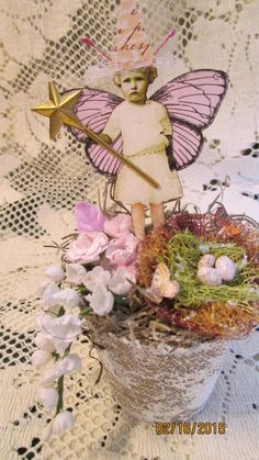 Potted Fairy Assemblage, Fairy Cake Topper, Fairy Home Decor, Fairies, Woodland Fairy, Handmade Fairy Decoration, by flutterbeforeyou on Etsy