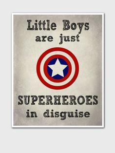 Superhero Kids Poster - Marvel Comics - Gift For Boys - Kids Art Print - Superhero Art Print - Bedroom Decor - Captain America - Superheroes