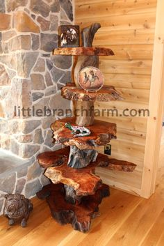 Live edge redwood burl accent table with twisted driftwood - wood slabs, burls, mantel pieces, and bases can be found at http://www.BerkshireProducts.com