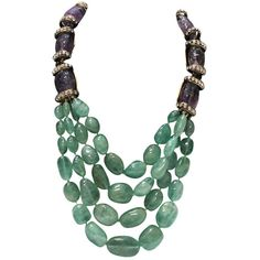 Mariko Amethyst and Semi Precious Lime Crystal Necklace ❤ liked on Polyvore